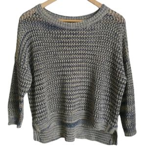 FRENCH CONNECTION Blue & Gold Crochet Knit Sweater